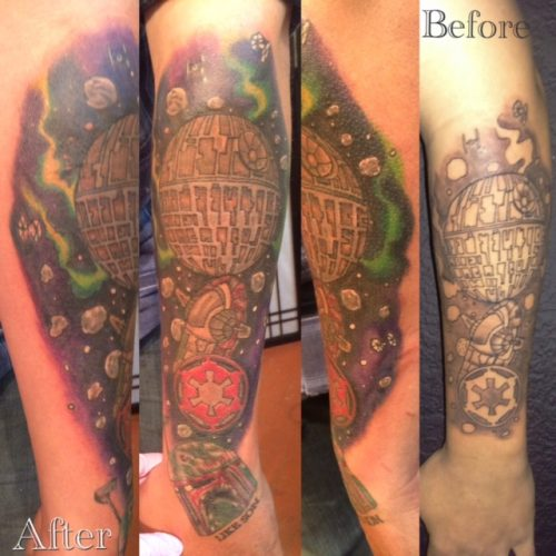Starwars Color Tattoo, Tina's Ink, Santa Fe Tattoo, Before and After